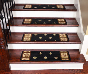 "Dean Non-Slip Pet Friendly Stair Gripper Carpet Stair Step Cover Treads - Black Fleur-De-Lys 31""W (15)"