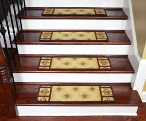 "Dean Non-Slip Pet Friendly Stair Gripper Carpet Stair Step Cover Treads - Beige Fleur-De-Lys 31""W (15)"