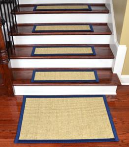Dean Desert/Navy Blue Non Slip Tape Free Pet Friendly Stair Gripper Natural  Fiber