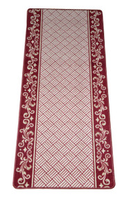 Dean Washable Carpet Rug Runner - Cranberry Scroll Border - 26 Inches Wide by 5 Feet Long