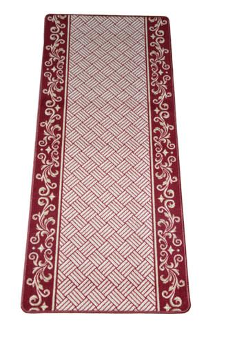 Dean Washable Carpet Rug Runner Cranberry Scroll Border