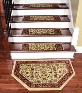 "Dean Tape Free Pet Friendly Non-skid Stair Gripper Premium Carpet Stair Treads - Classic Keshan Antique Beige 31"" W (Set of 15) Plus a Matching Landing Hearth Mat 27"" x 39"" (2x3)"