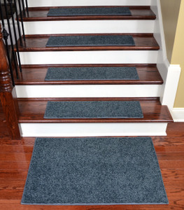 "Dean Non-Slip Tape Free Pet Friendly Stair Gripper Premium Nylon Waterproof DIY Carpet Stair Treads/Rugs 27"" x 9"" (15) Plus a Matching 2' x 3' Landing Mat - Color: Moody Blue Plush, American Made Top Quality"