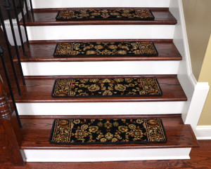 "Dean Non-Slip Pet Friendly Premium Carpet Stair Treads - Elegant Keshan Ebony 31"" x 9"" (Set of 15)"