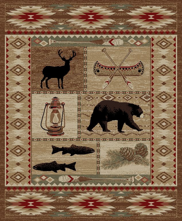 Dean River Camp Bear Lodge Cabin Bear Area Rug Dean