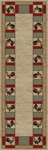 "Dean Barnyard Ivory Country Rooster Lodge Cabin Area Carpet Runner Rug Size: 2'3"" x 7'7"""