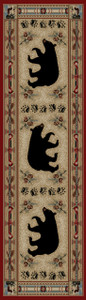 "Dean Black and Red Bear Lodge Cabin Bear Carpet Runner Rug Size: 2'3"" x 7'7"""