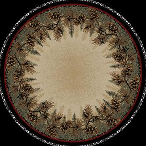 """Dean Mt. Le Conte Lodge Cabin Pine Cone Carpet Area Rug Size: 5'3"""" Round"""