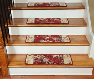 Dean Tape Free Pet Friendly Ultra Premium Non-Slip Stair Gripper Carpet Stair Treads - Chelsea Garden Red (15)