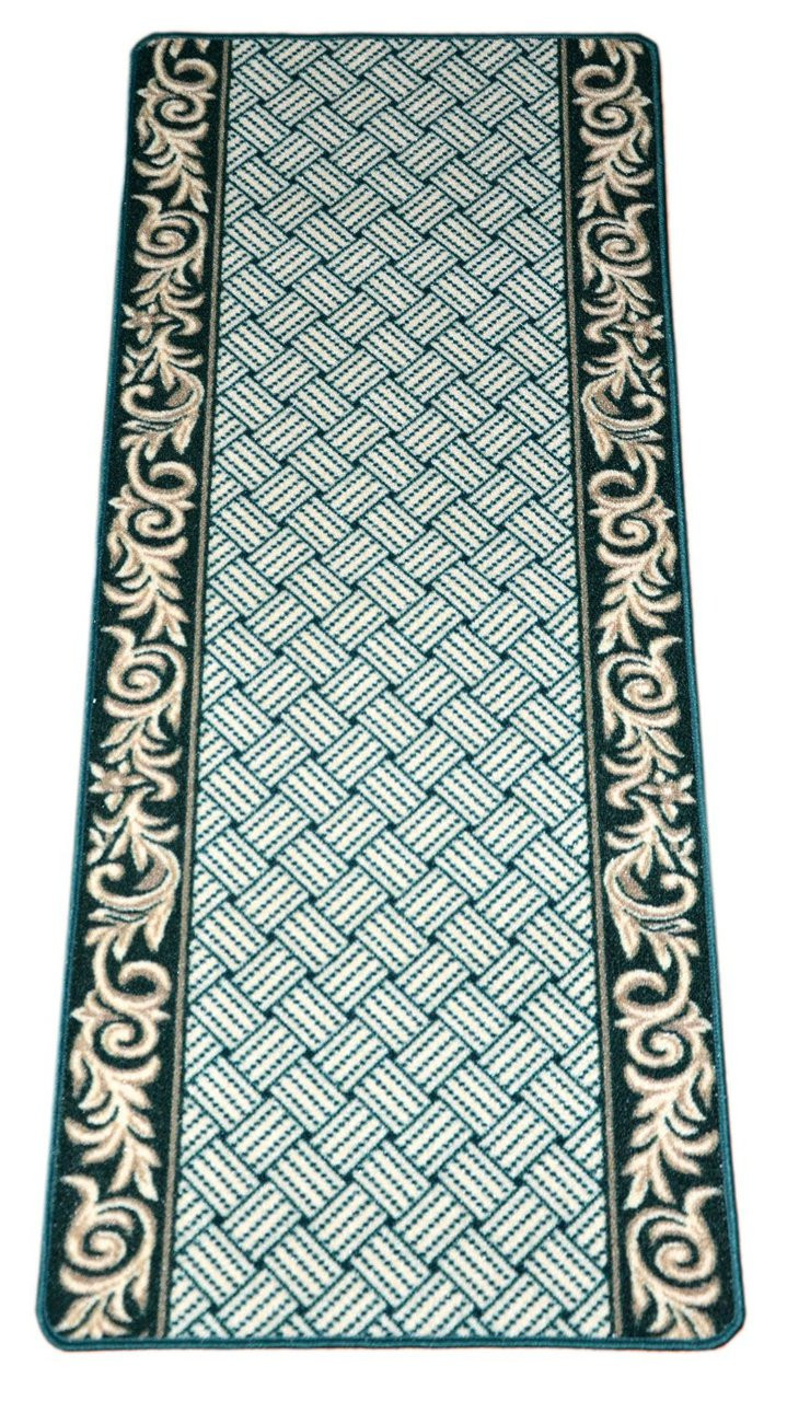 Dean Washable Carpet Rug Runner Hunter Green Scroll