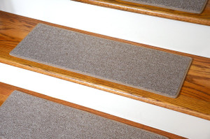 "Dean DIY Carpet Stair Treads 27"" x 9"" - Beige - Set of 13 Plus Double-Sided Tape"
