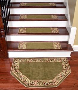 "Dean Tape Free Pet Friendly Non-skid Stair Gripper Ultra Premium Carpet Stair Treads - Talas Floral Green 31"" W (Set of 15) Plus a Matching Landing Hearth Mat 27"" x 39"" (2x3)"