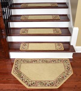"Dean Tape Free Pet Friendly Non-skid Stair Gripper Ultra Premium Carpet Stair Treads - Talas Floral Beige 31"" W (Set of 15) Plus a Matching Landing Hearth Mat 27"" x 39"" (2x3)"