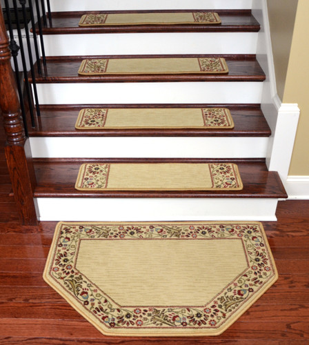 Dean Talas Floral Beige Stair Treads Amp Mat Set Of 15