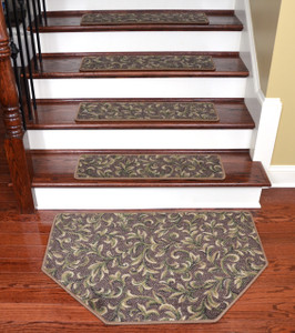 "Dean Tape Free Pet Friendly Non-skid Stair Gripper Ultra Premium Carpet Stair Treads - Acanthus Brown 30"" W (Set of 15) Plus a Matching Landing Hearth Mat 27"" x 39"" (2x3)"