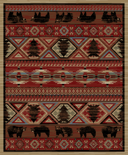 Dean Lodge King Red Pine Rustic Area Rug 7 10 Quot X 9 10 Quot