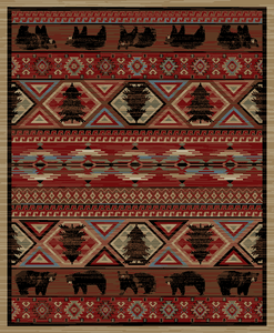 """Dean Lodge King Red Pine Rustic Western Lodge Bear Cabin Ranch Area Rug Size: 5'3"""" x 7'3"""""""