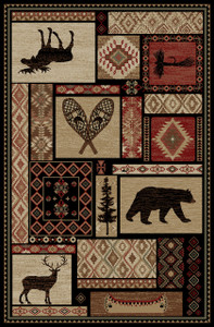 "Dean Lodge King Patchwork Multi Rustic Western Lodge Bear Moose Deer Cabin Ranch Area Rug Size: 7'10"" x 9'10"""