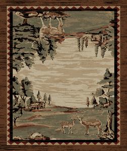 "Dean Lodge King Wildwood Brown Rustic Western Lodge Deer Cabin Ranch Area Rug Size: 7'10"" x 9'10"""