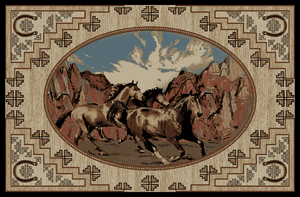 """Dean Lodge King Great Escape Rustic Western Horse Lodge Cabin Ranch Area Rug Size: 7'10"""" x 9'10"""""""