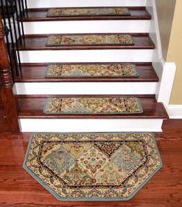 "Dean Tape Free Pet Friendly Non-skid Stair Gripper Ultra Premium Carpet Stair Treads - Panel Kerman Cloude 31"" W (Set of 15) Plus a Matching Landing Hearth Mat 27"" x 39"" (2x3)"