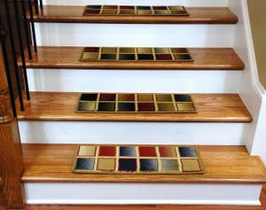 Dean Non-Slip Tape Free Pet Friendly Premium Carpet Stair Treads - Checkerboard 15 Pack