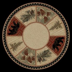 """Dean Cade's Cove Lodge Cabin Pine Cone Carpet Area Rug Size: 5'3"""" Round"""