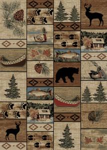 "Dean Mountain Solitude Rustic Bear Lodge Cabin Ranch Area Rug Size: 5'3"" x 7'3"""