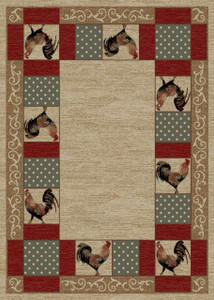 """Dean Barnyard Ivory Rustic Rooster Lodge Cabin Ranch Area Rug Size: 5'3"""" x 7'3"""""""