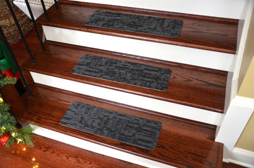 Dean Affordable Non Skid DIY Peel U0026 Stick Carpet Stair Treads   Color:  Carbonized Black   Set Of 13