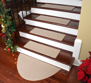 "Dean Non-Slip Tape Free Pet Friendly DIY Carpet Stair Treads/Rugs 27"" x 9"" (15) Plus 36"" x 18"" Half Circle Landing Mat - Color: Cream"