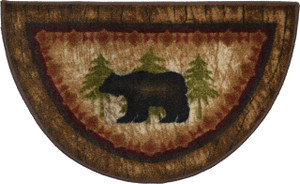 "Dean Washable Non-Skid ""Brown Bear"" Cabin Mountain Kitchen/Bath/Door Mat/Rug Half Circle 19"" x 31"""