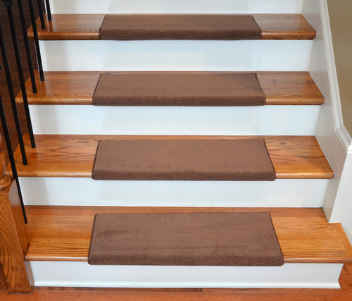 Brown Bullnose Carpet Stair Treads Tape Free 3 Pk