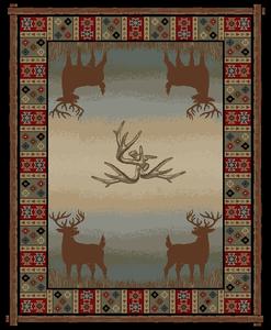 "Dean Open Range Rustic Western Lodge Deer Cabin Ranch Area Rug Size: 5'3"" x 7'3"""