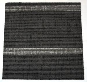Dean DIY Carpet Tile Squares - Black & Gray Midnight Stripe - 48 SF Per Box -12 Pieces Per Box
