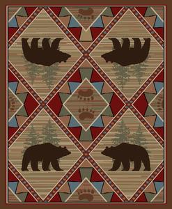 "Dean Echo River Lodge Cabin Bear Rustic Mountain Outdoors Area Rug Size: 7'10"" x 9'10"" (8x10)"