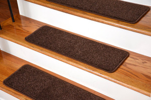"Dean Non-Slip Tape Free Pet Friendly Premium Stair Gripper Serged DIY 27"" x 9"" Imperial Carpet Stair Treads - Color: Walnut (15)"