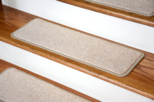 "Dean Non-Slip Tape Free Pet Friendly Premium Stair Gripper Serged DIY 27"" x 9"" Imperial Carpet Stair Treads - Color: Tan/Gold (15)"