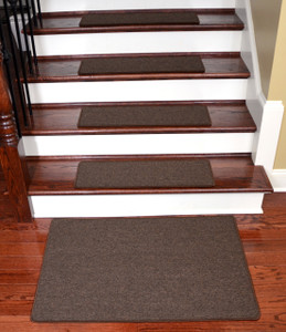 Dean Washable Non-Slip Carpet Stair Treads - Urban Legend Brown - Set of 15 Pieces, 27 Inches by 9 Inches Each Plus a Matching Landing Mat