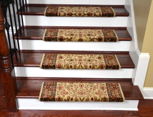 "Dean Non-Slip Tape Free Pet Friendly Stair Gripper Bullnose Carpet Stair Treads - Classic Keshan Ivory Mocha 31""W (3)"