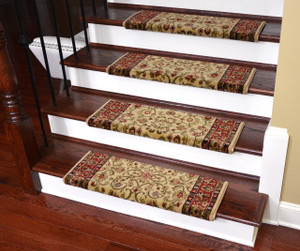 "Dean Non-Slip Tape Free Pet Friendly Stair Gripper Bullnose Carpet Stair Treads - Classic Keshan Antique 31""W (3)"