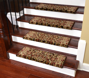 "Dean Non-Slip Tape Free Pet Friendly Stair Gripper Bullnose Carpet Stair Treads - Classic Keshan Chocolate 31""W (3)"