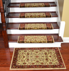"Dean Non-Slip Tape Free Pet Friendly Stair Gripper Bullnose Carpet Stair Treads - Classic Keshan Antique 31""W (15) Plus a Matching 27"" x 39"" Landing Mat (1)"