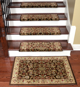 "Dean Non-Slip Tape Free Pet Friendly Stair Gripper Bullnose Carpet Stair Treads - Classic Keshan Chocolate 31""W (15) Plus a Matching 27"" x 39"" Landing Mat (1)"