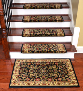 "Dean Non-Slip Tape Free Pet Friendly Stair Gripper Bullnose Carpet Stair Treads - Classic Keshan Ebony 31""W (15) Plus a Matching 27"" x 39"" Landing Mat (1)"