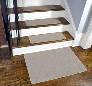 Dean Washable Non-Slip Carpet Stair Treads - New Suede Beige - Set of 15 Pieces, 27 Inches by 9 Inches Each Plus a Matching 2' x 3' Landing Mat