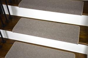 "Dean Modern DIY Peel and Stick Bullnose Wraparound Non-Skid Carpet Stair Treads - New Suede Beige 30""W (15)"
