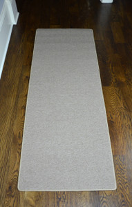 Dean New Suede Beige Washable Non-Slip Carpet Kitchen/Bath/Door Mat/Landing Runner Rug - Sold in Custom Lengths by the Linear Foot (27 Inches Wide)