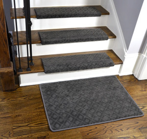 "Dean Modern DIY Premium Tape Free Pet Friendly Bullnose Non-Skid Carpet Stair Treads/Runner Rugs - Smoked Pearl Dark Gray 31""W (15) Plus a Matching 2' x 3' Landing Mat"