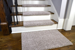 Dean Modern DIY Peel and Stick Bullnose Wraparound Non-Skid Carpet Stair Treads - Macadamia Beige 30 Inches Wide (15) Plus a Matching 2 Foot by 3 Foot Landing Mat